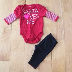 Christmas onesie and pants bundle 0-3 months 🎅